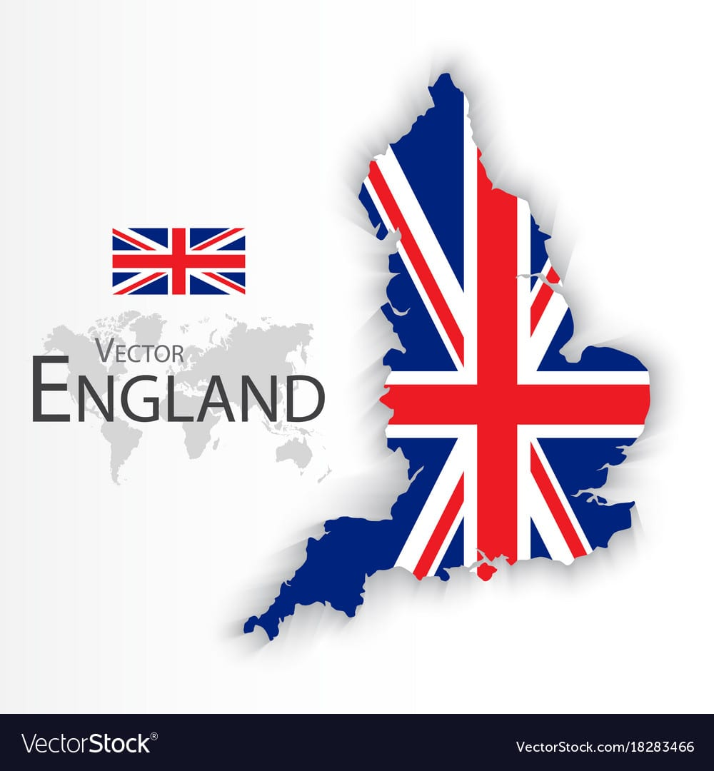 England Flag And Map Royalty Free Vector Image