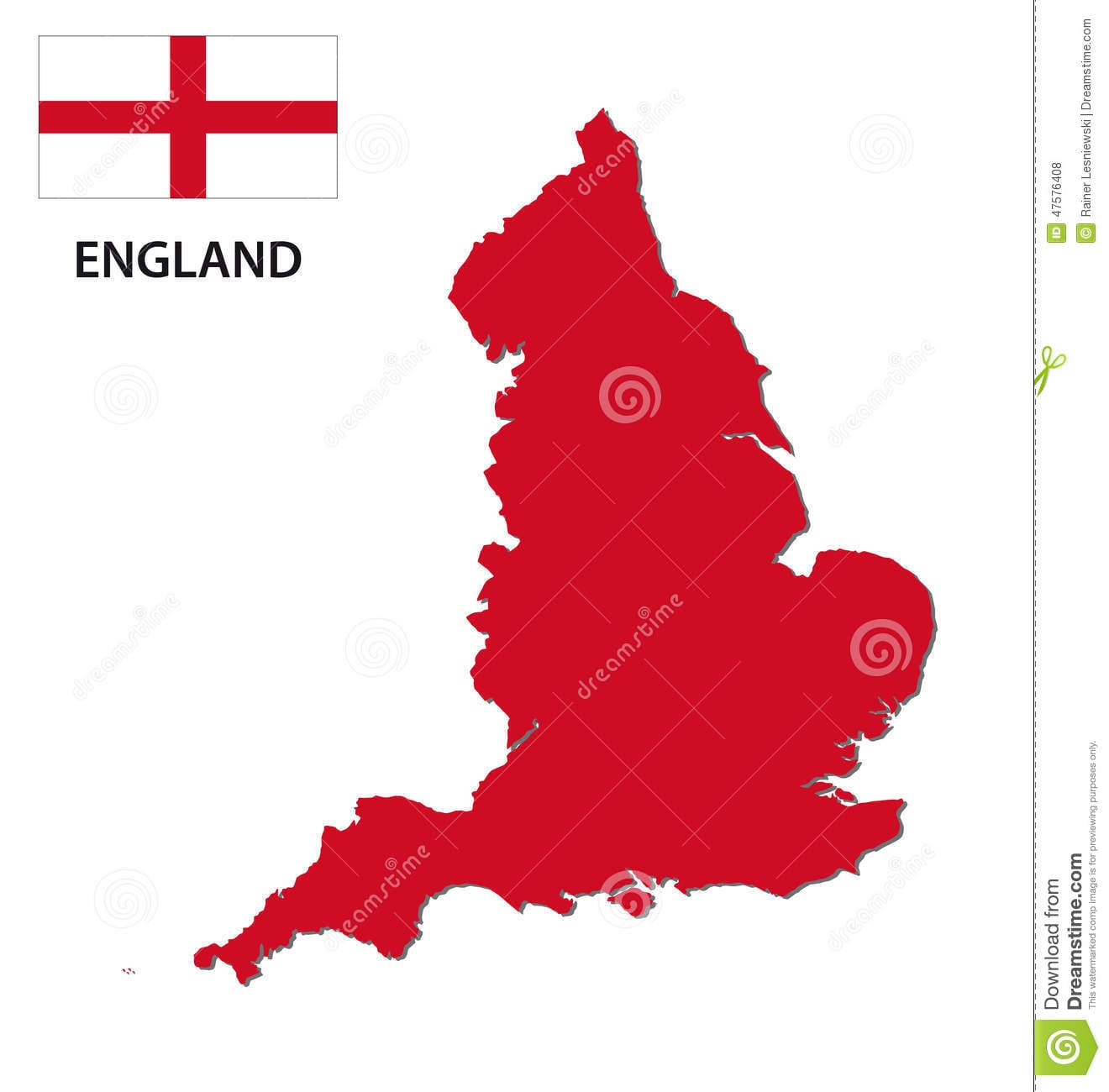 England Map With Flag Stock Vector  Illustration Of Region