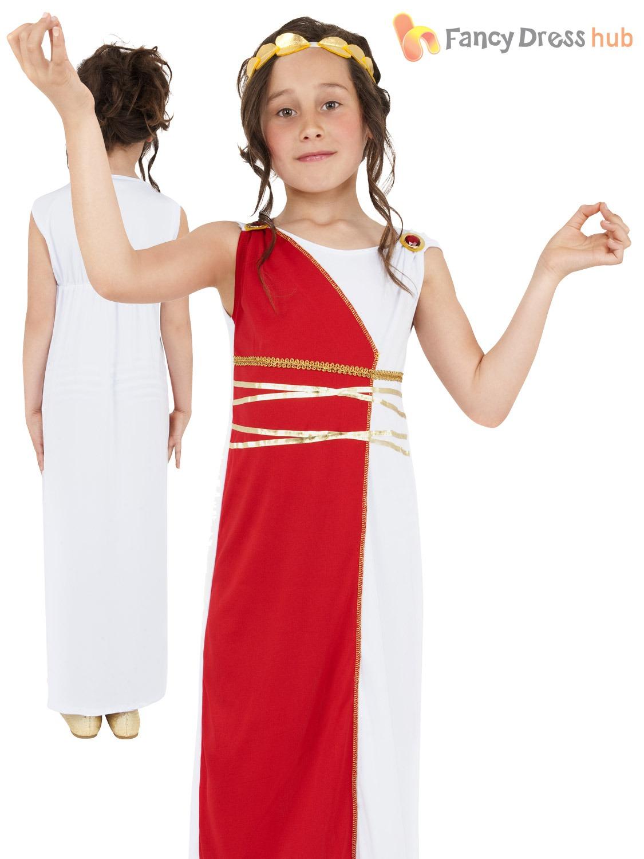 Childs Grecian Girl Costume Kid Athena Roman Greek Goddess Fancy
