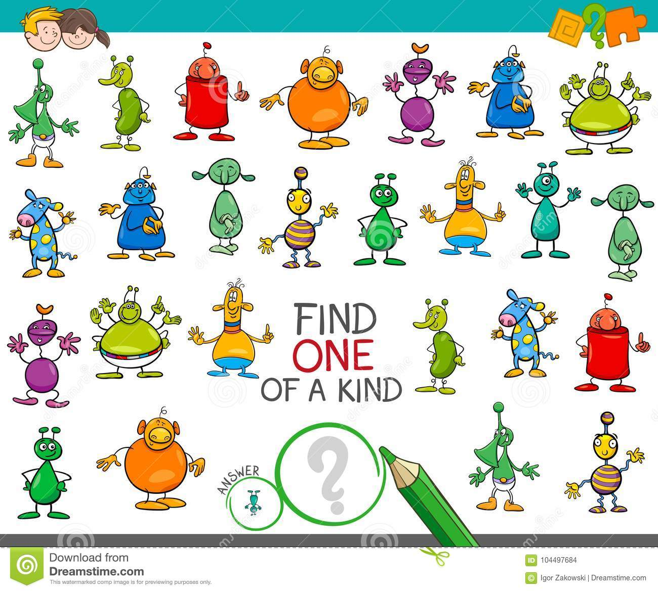 Find One Of A Kind Game With Aliens Characters Stock Vector