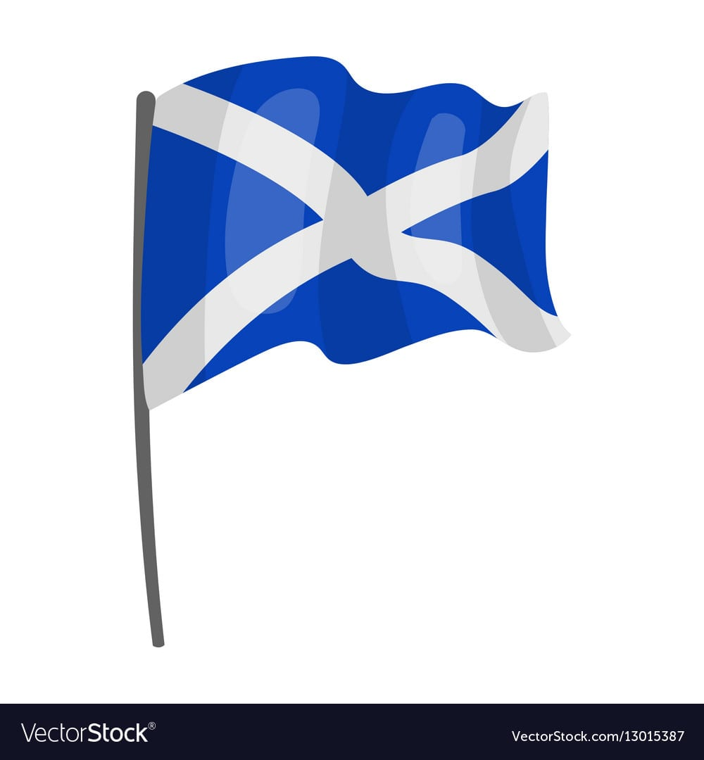 Flag Of Scotland Icon In Cartoon Style Isolated On