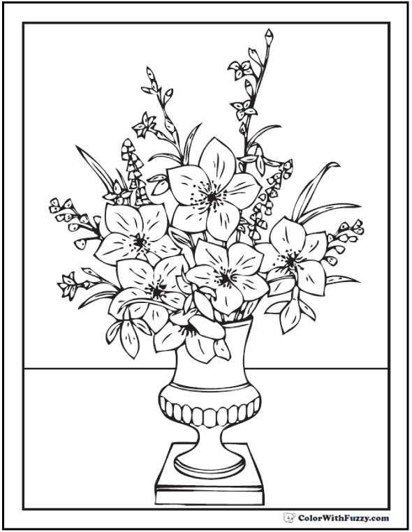Colouring Pages Flower Vase