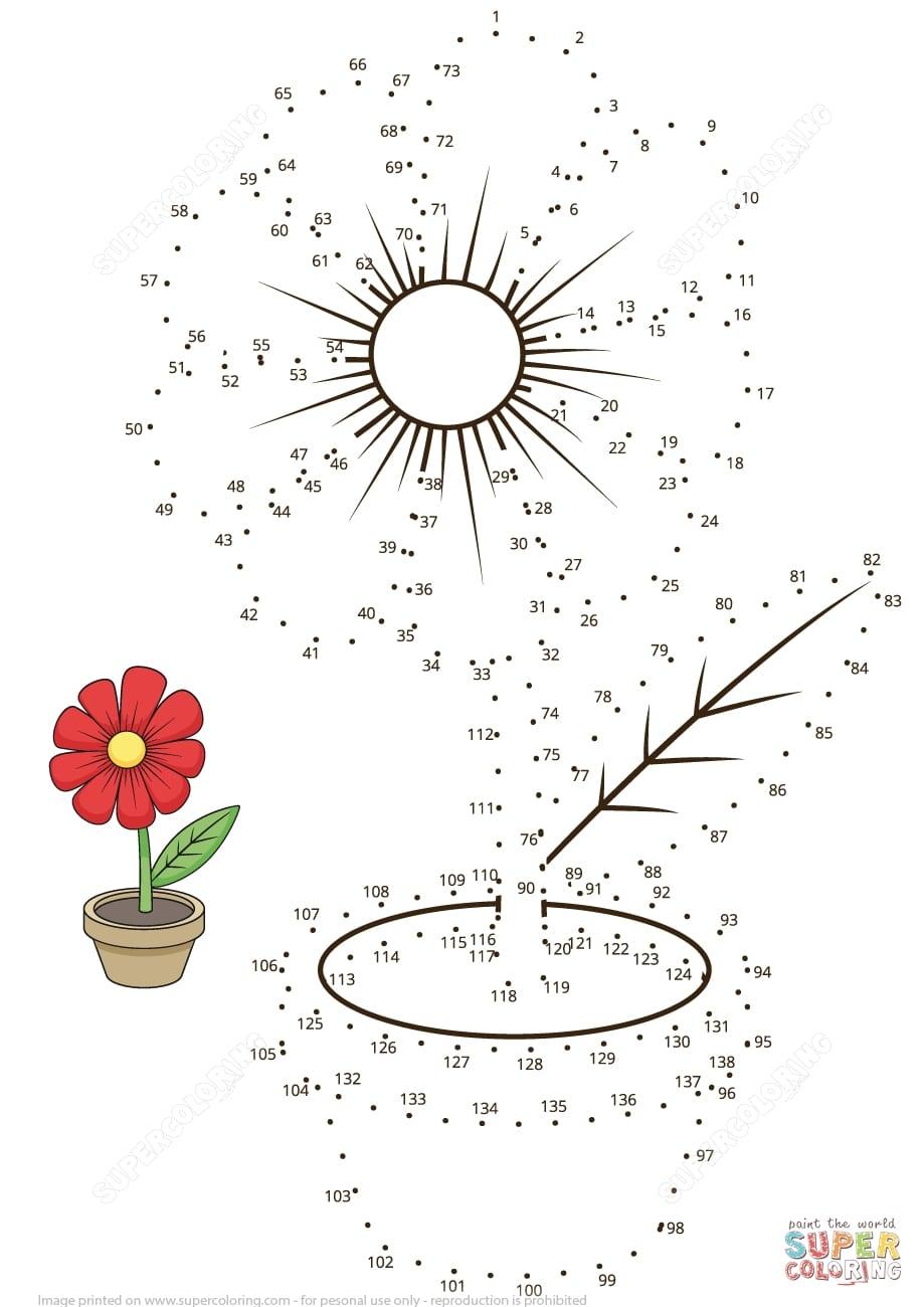 New Free Flower Dot To Dot