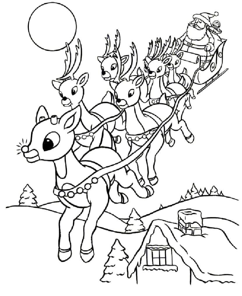 Genuine Reindeer Coloring Pages Pdf Christmas Santa S 16 Crafts