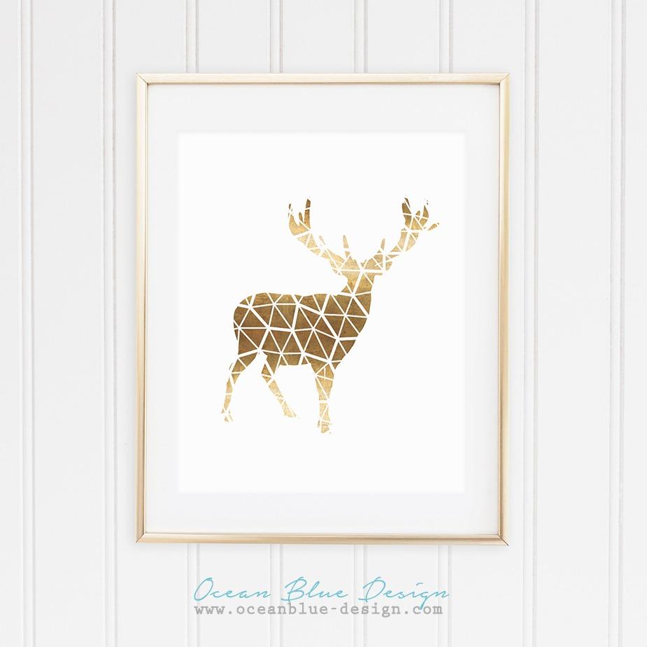 Geometric Polygon Moose Print – Real Rose Gold Foil Style