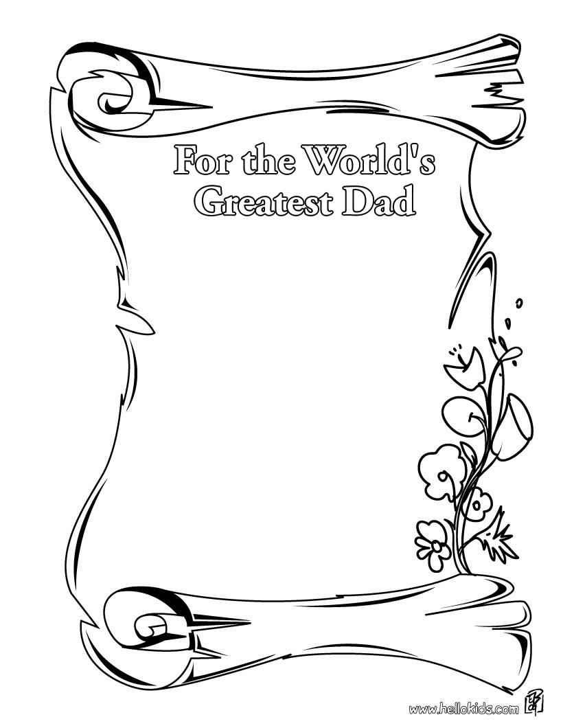 For The World' Greatest Dad Coloring Pages