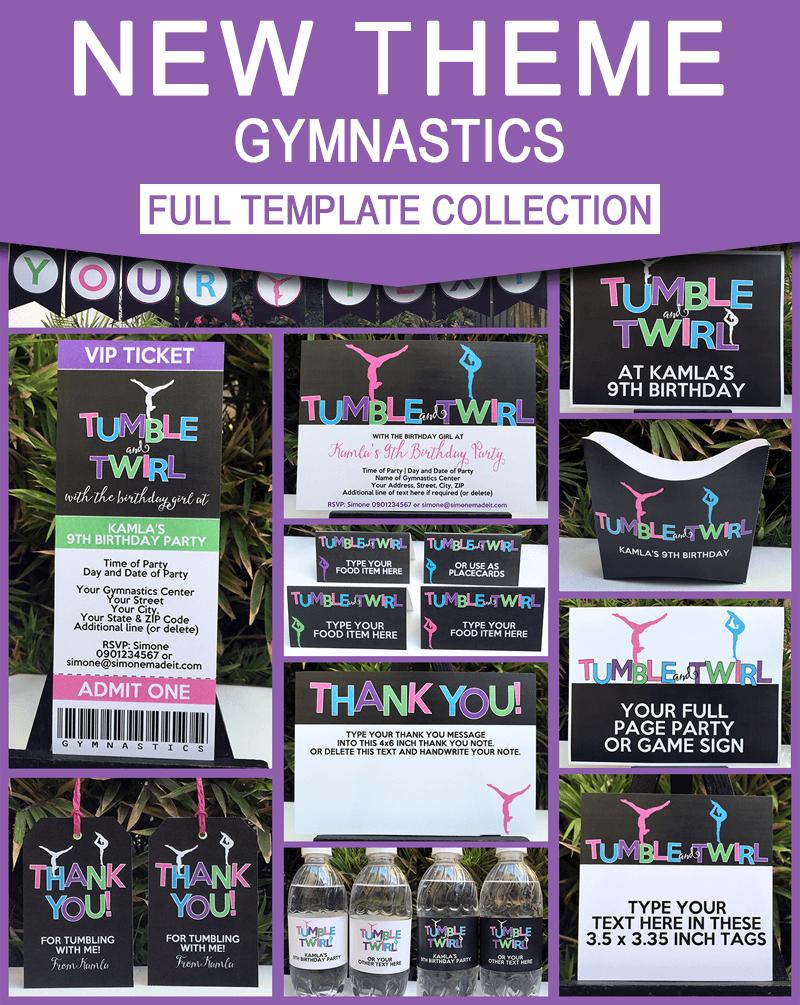 Gymnastics Birthday Party Theme Printables