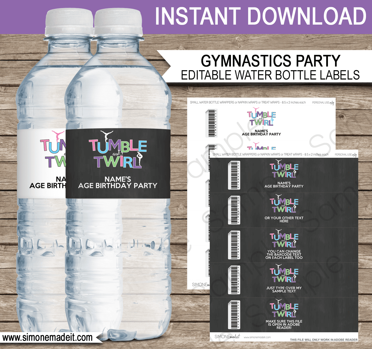 Gymnastics Party Water Bottle Labels