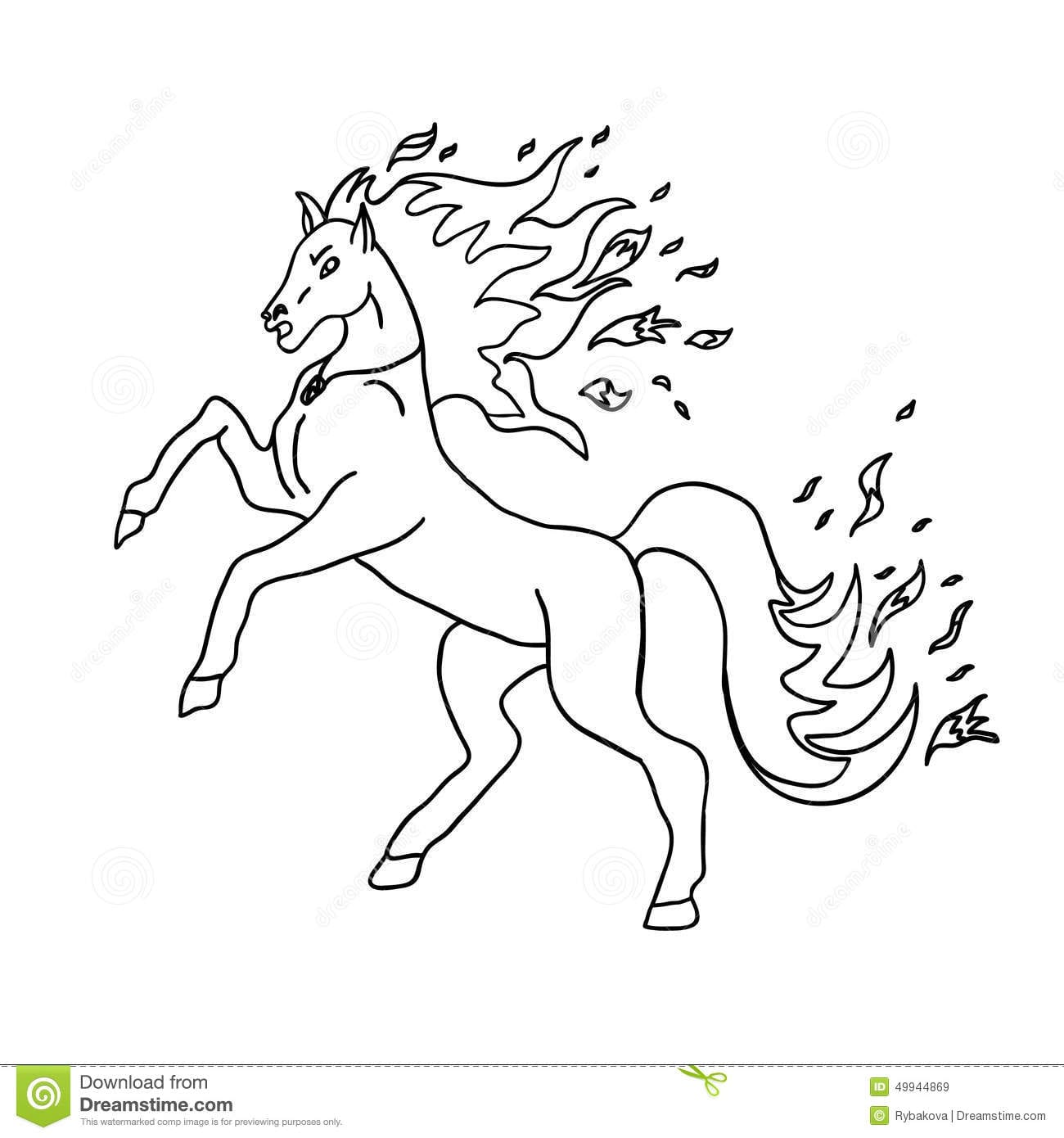 Horse Without Color Stock Illustration  Illustration Of Half