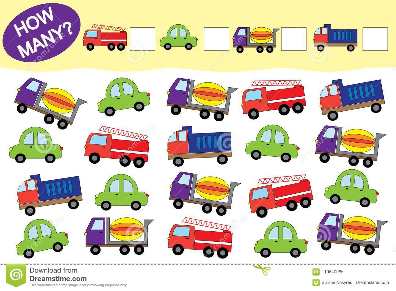 How Many Objects Of Transport  Educational Game For Children