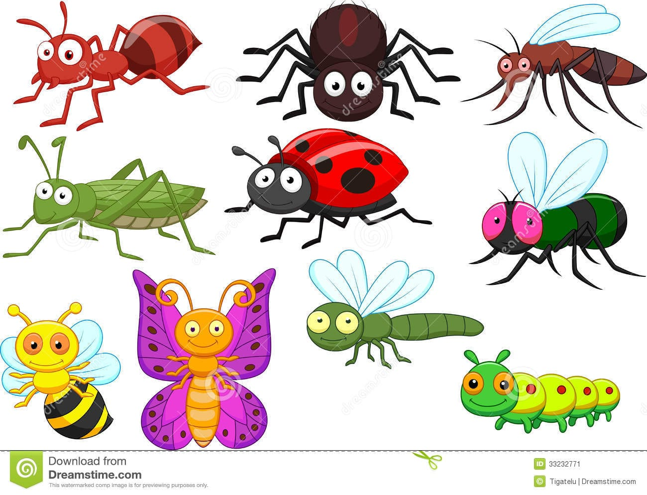 Insect Cartoon Collection Set Stock Vector