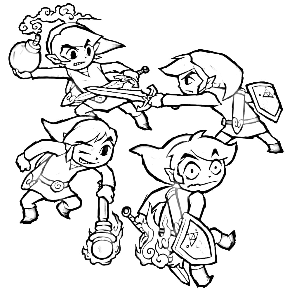 Link And Zelda Coloring Page Free Printable Pages At Legend Of