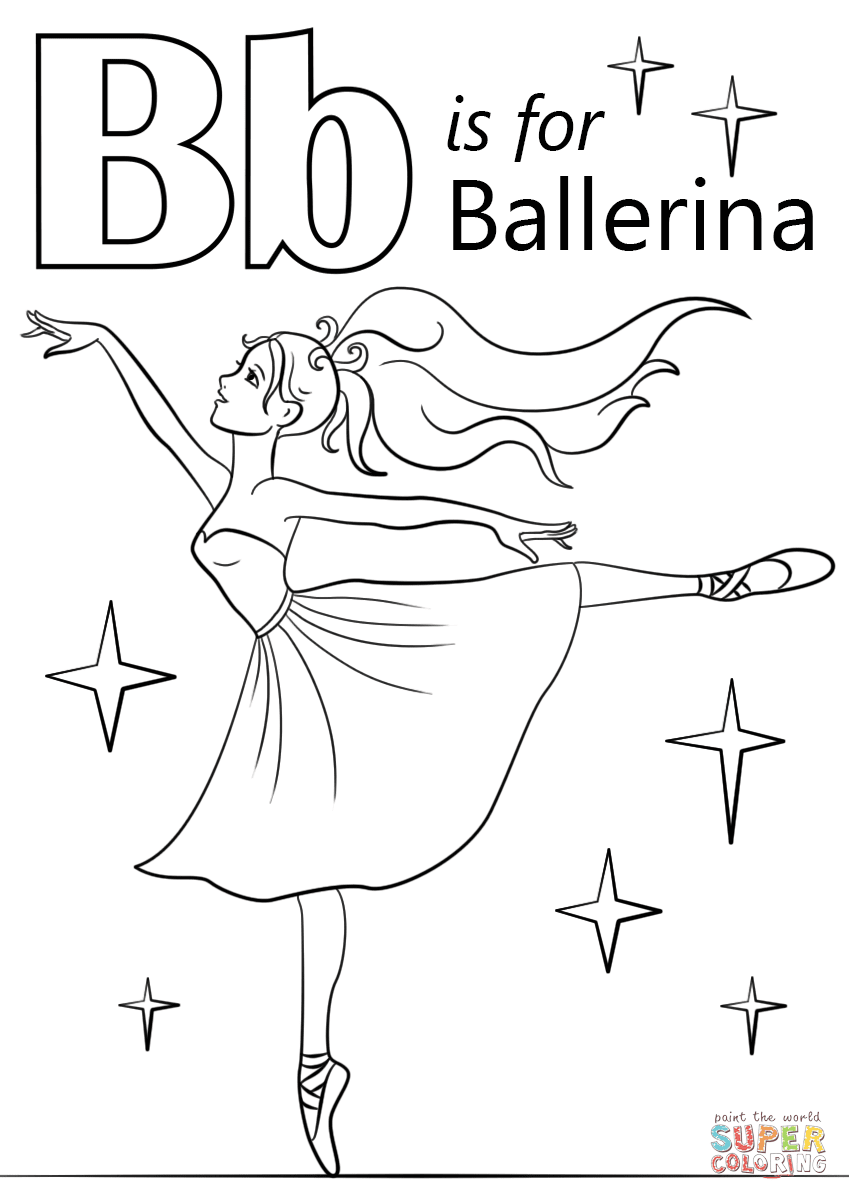 Letter B Is For Ballerina Coloring Page