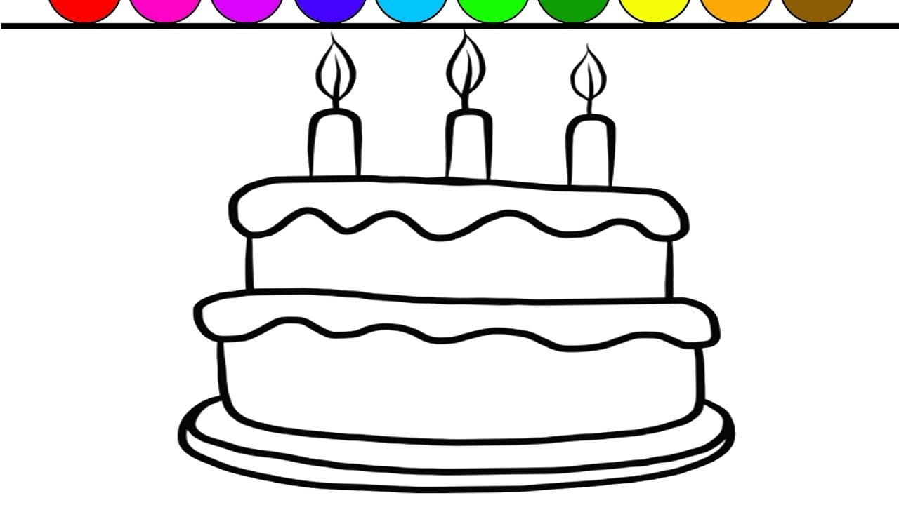 Learn Colors And Color Giant Birthday Cake Coloring Page Game For