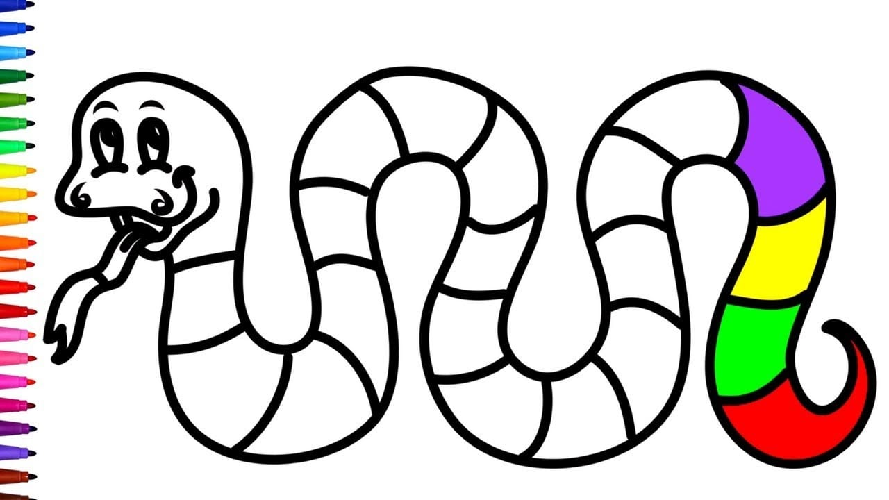 Rainbow Snake Coloring Pages For Children