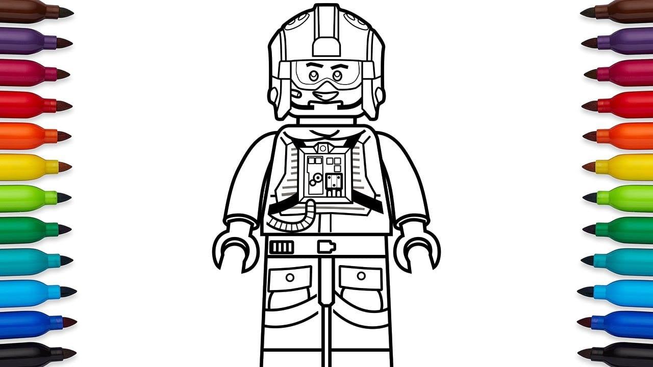 How To Draw Lego Luke Skywalker Pilot From Star Wars