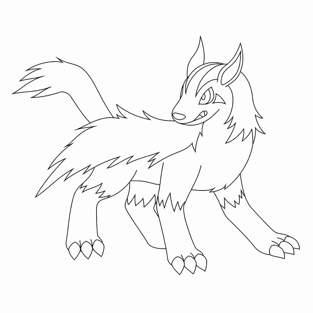262 Mightyena Pokemon Coloring Page  Mightyena Coloring Pages