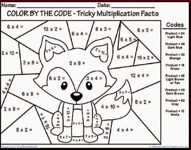 Multiplication Worksheets Color By Number  1457690