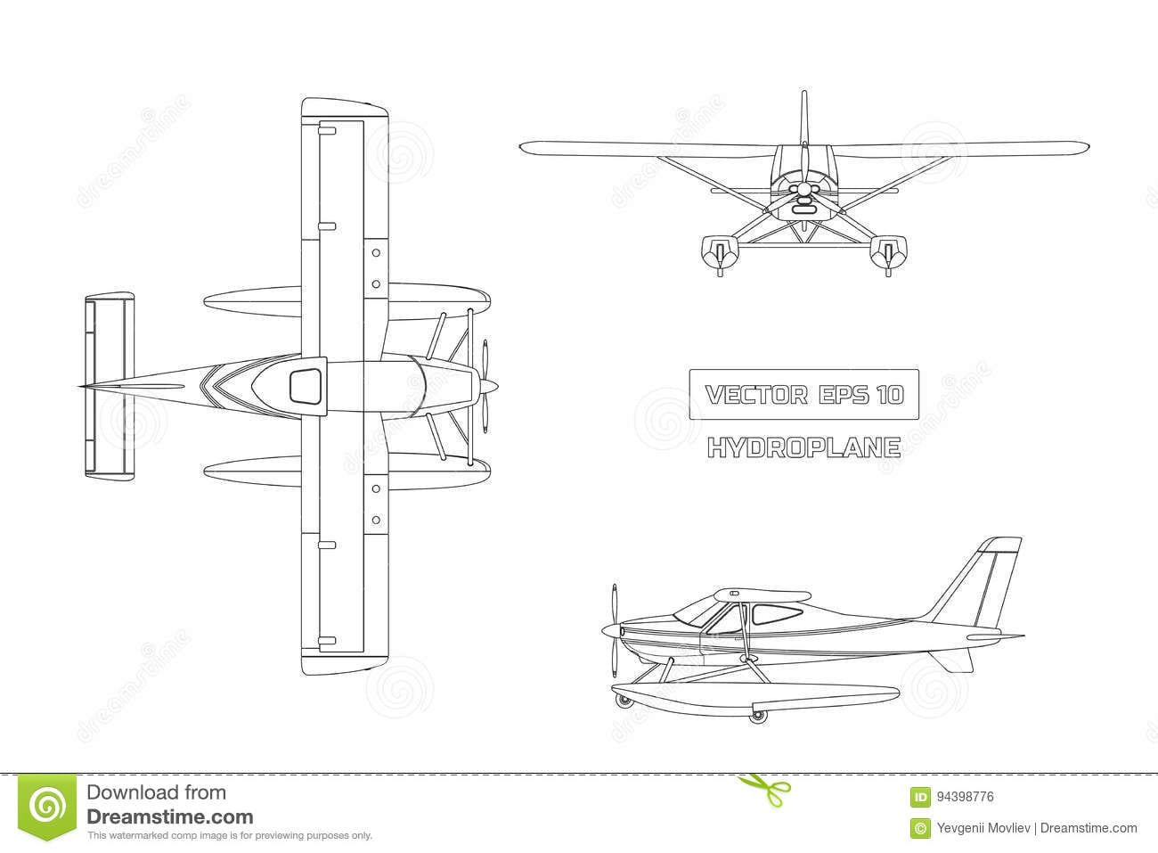 Outline Drawing Of Plane In A Flat Style On A Gray Background