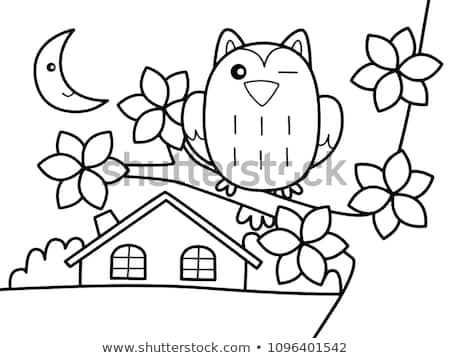 Owl Outside House Without Color Stock Vector (royalty Free