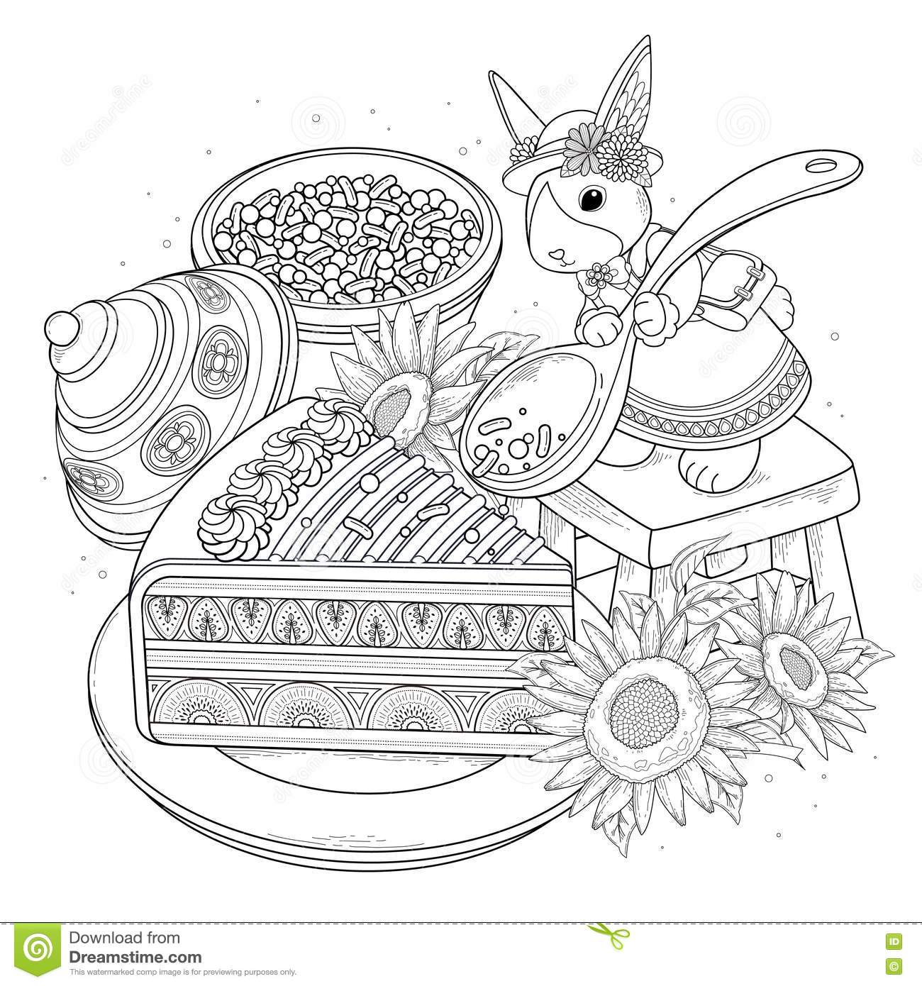 Pastries Adult Coloring Page Stock Vector