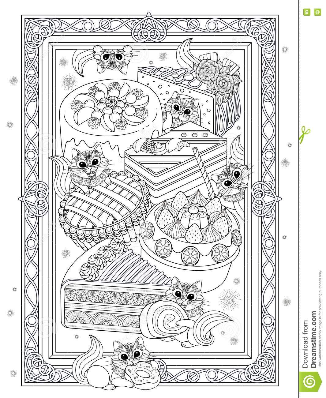 Pastries Adult Coloring Page Stock Illustration