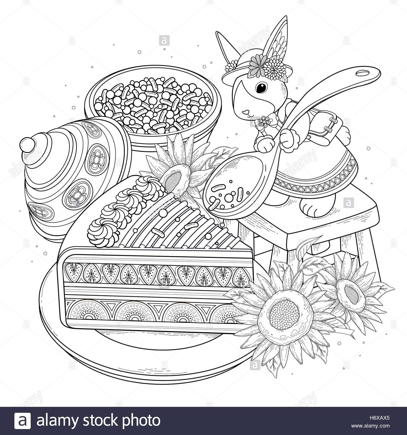 Pastries Adult Coloring Page, Delicious Snacks Page For Coloring