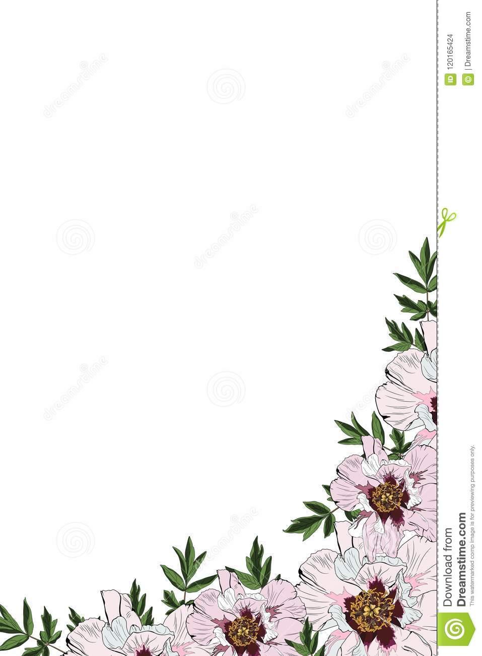 Pink Peony Invitation Frame Vector Spring Summer Floral Printable