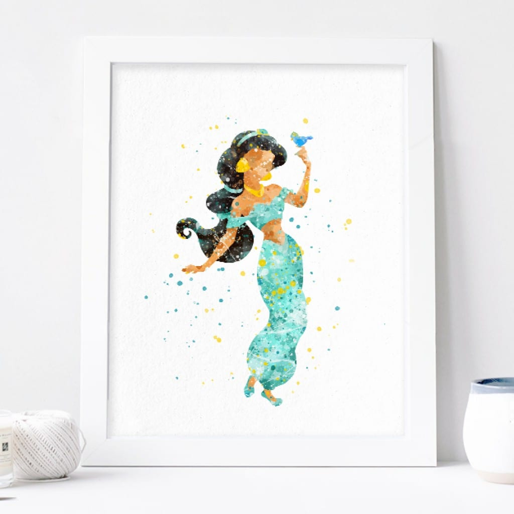 Princess Jasmine Art, Aladdin Watercolor Print Nursery Wall Decor
