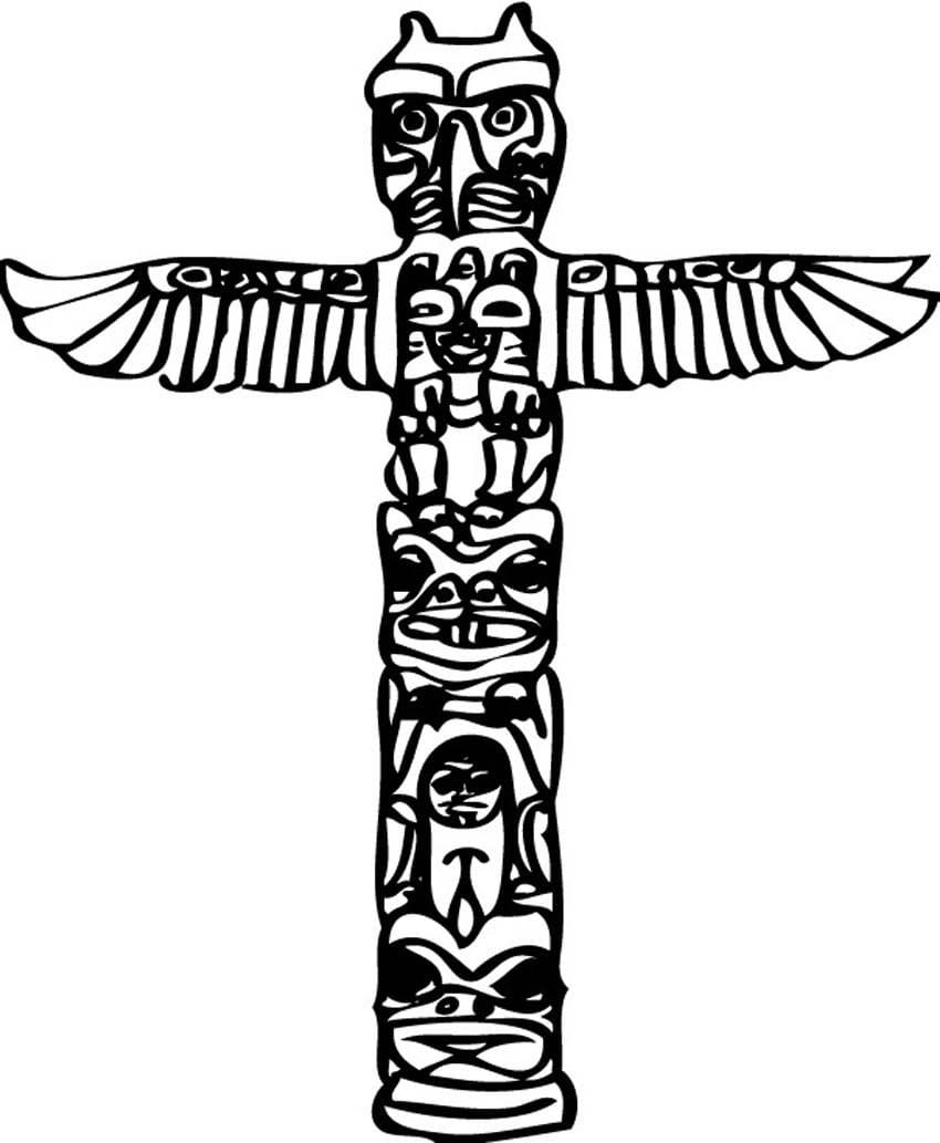 Totem Pole Symbols Coloring Pages