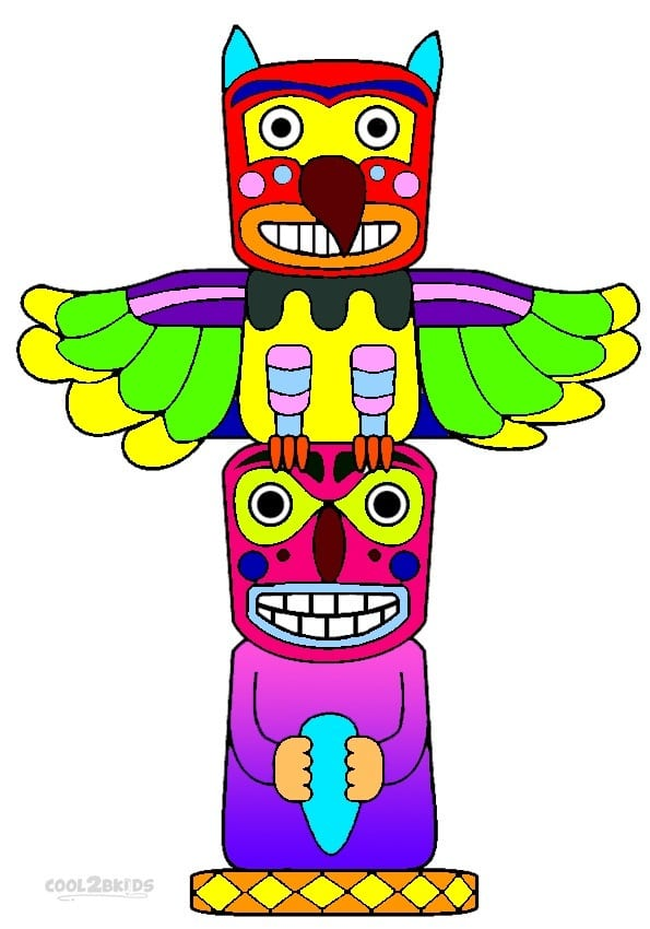 Totem Pole Coloring Page Free Pages Printable
