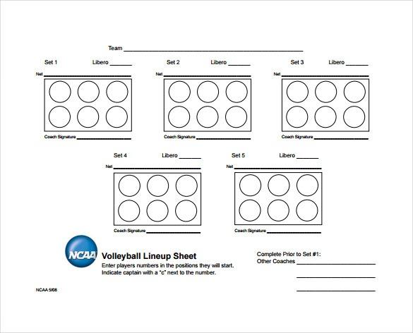 Line Up Sheet