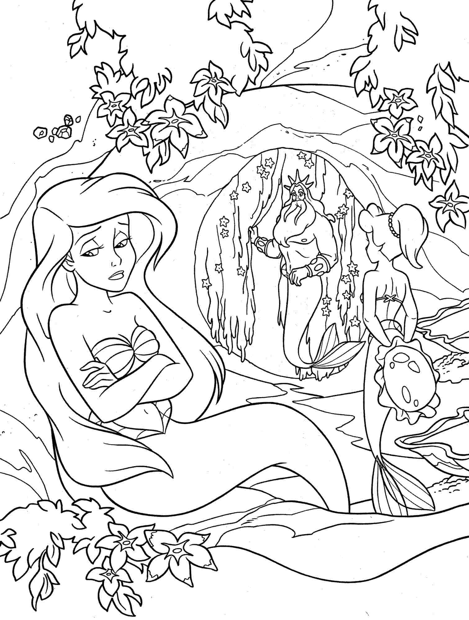 Project Ideas Little Mermaid Coloring Pages Ariel To Print Adult