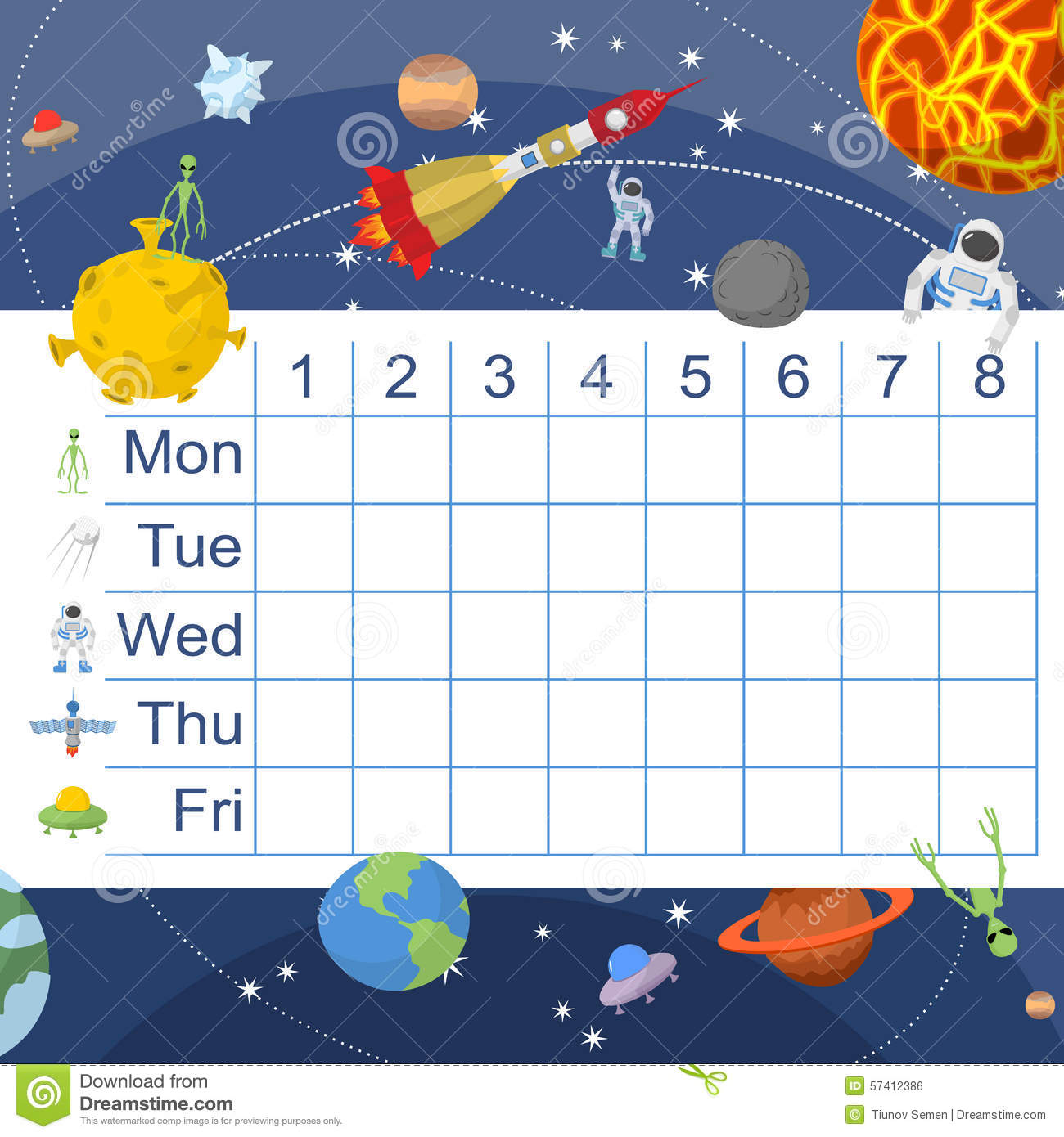 Schedule For Students  Table With Lessons For Children  Space De