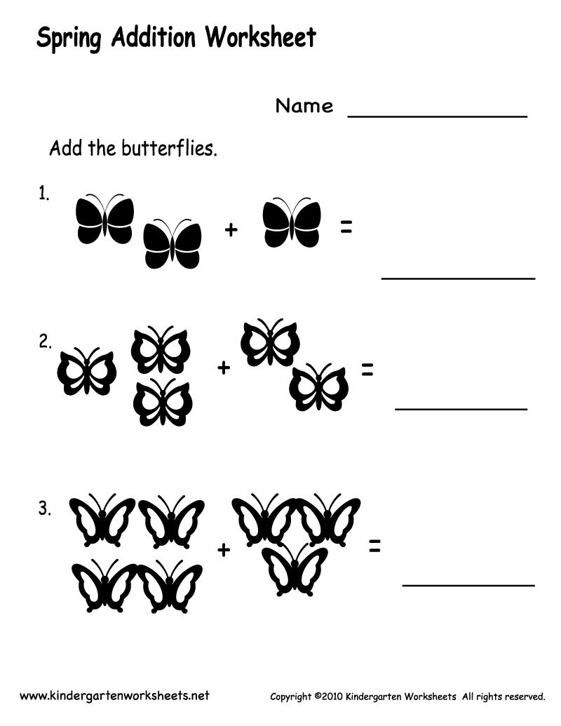 Simple Addition Worksheet For Kindergarten Worksheets For All