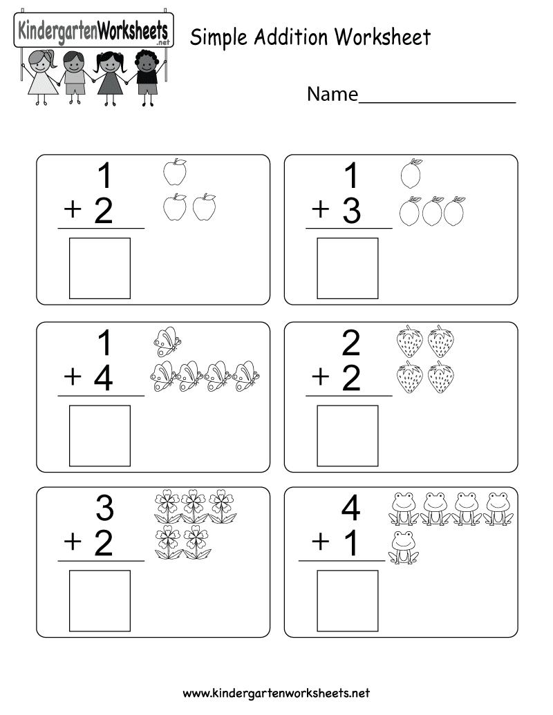Free Printable Simple Addition Worksheet For Kindergarten