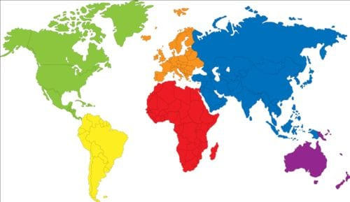 Simple Color World Map Vector Unique Color In World Map