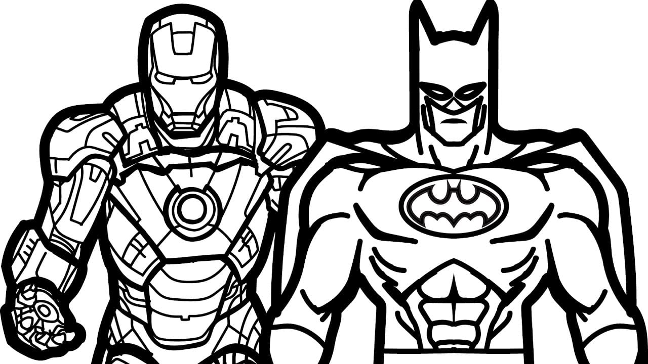 Simple Iron Man Coloring Pages Bat Batman Colouring