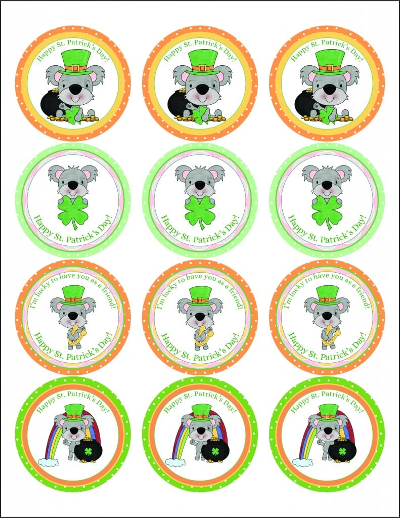 Free St  Patrick's Day Cupcake Toppers Printable