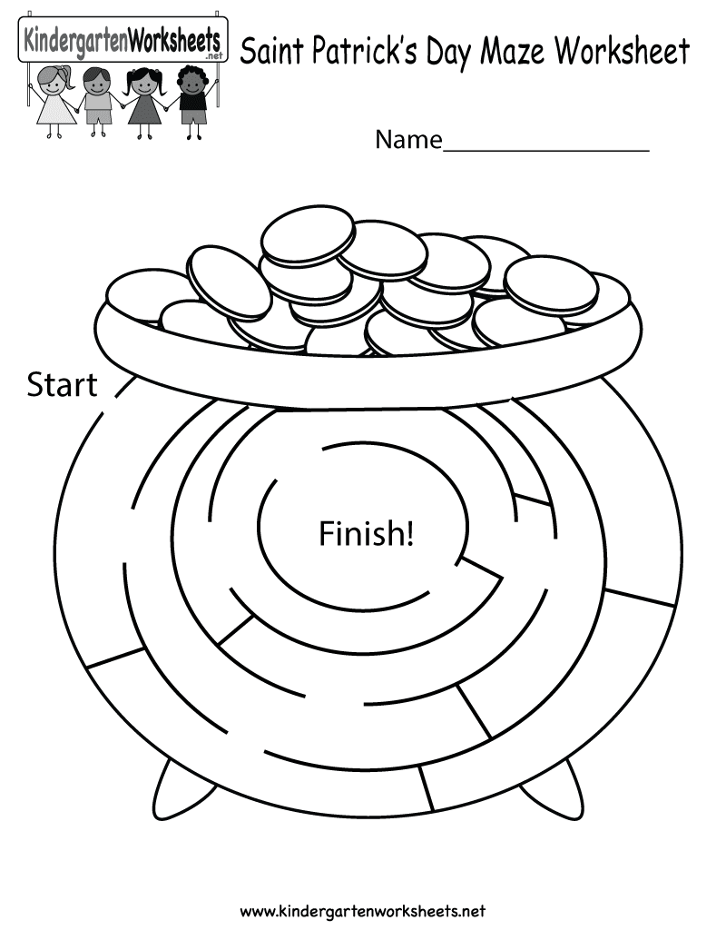 Free Printable Saint Patrick's Day Maze Worksheet For Kindergarten