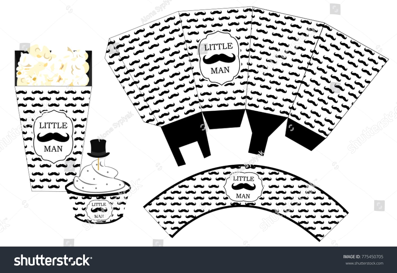 Popcorn Paper Box Cupcake Wrapper Printable Stock Vector (royalty