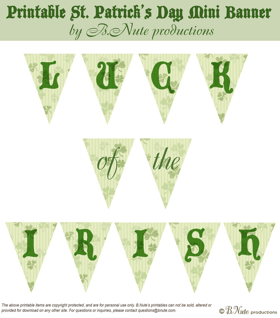 Bnute Productions  Free Printable St  Patrick's Day Mini Banner