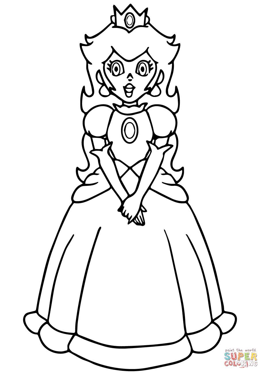 Super Mario Princess Peach Coloring Page