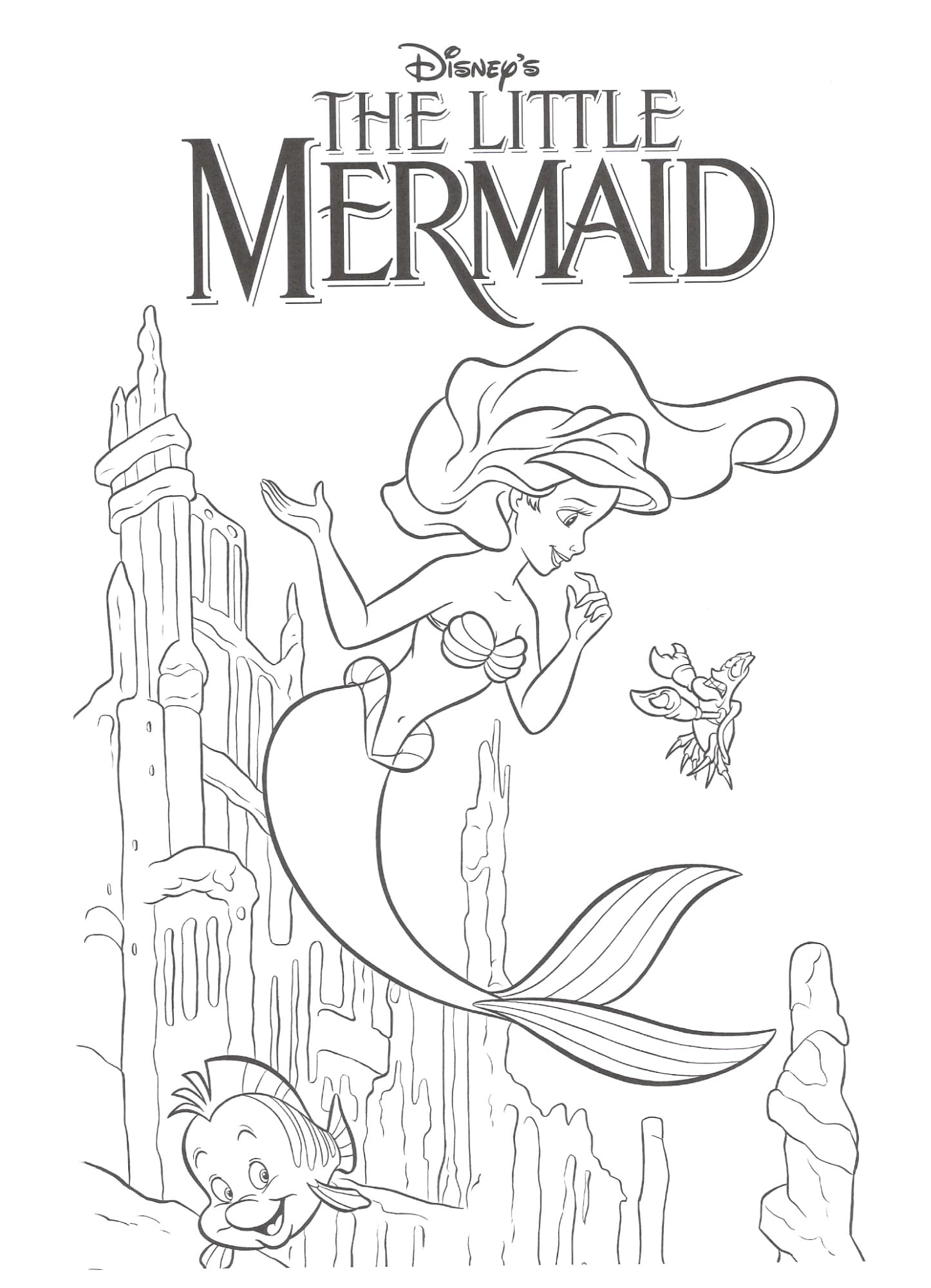 The Little Mermaid Coloring Pages9 Kids Throughout Pages On 2 10