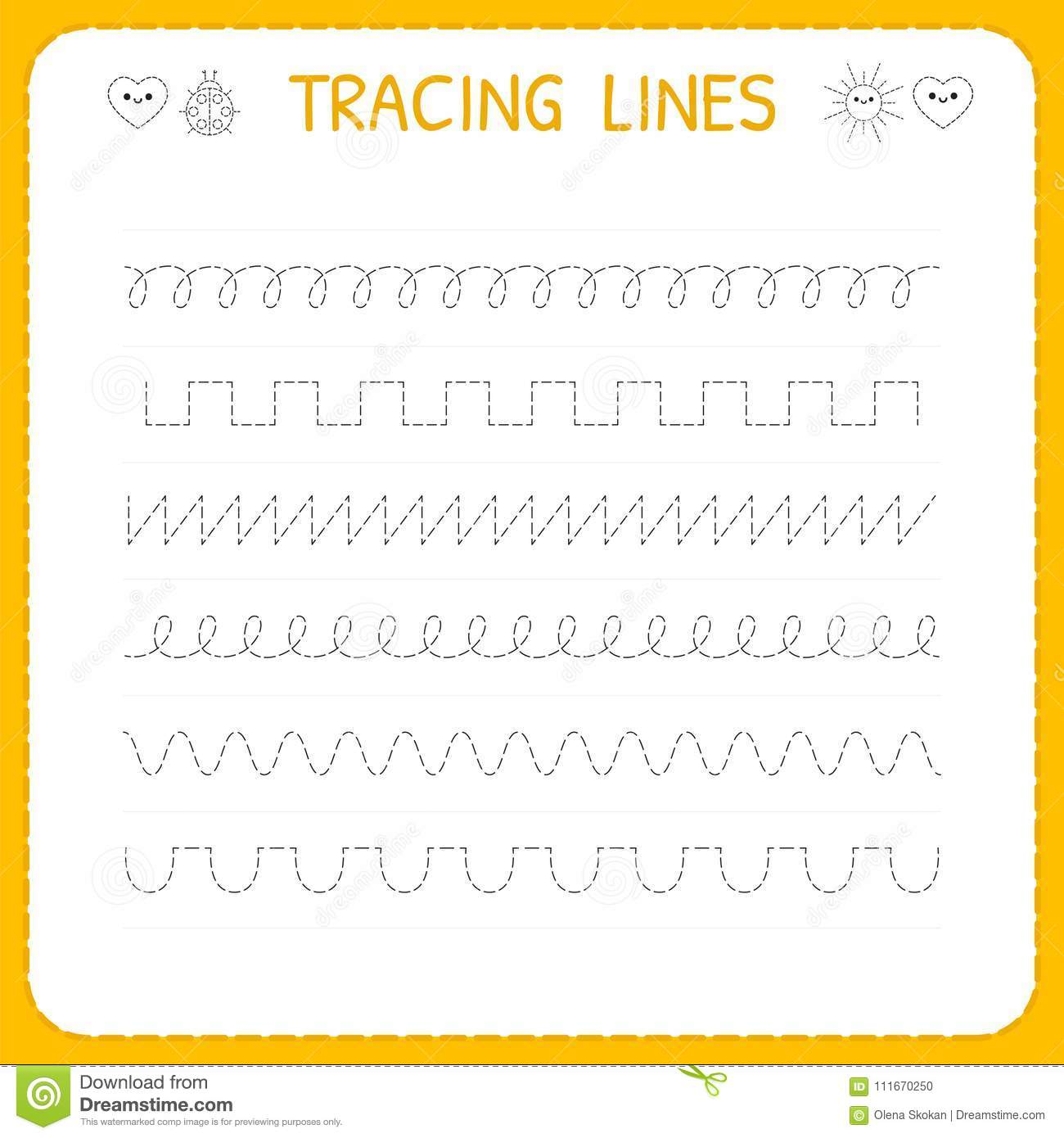 Trace Line Worksheet For Kids  Basic Writing  Working Pages For