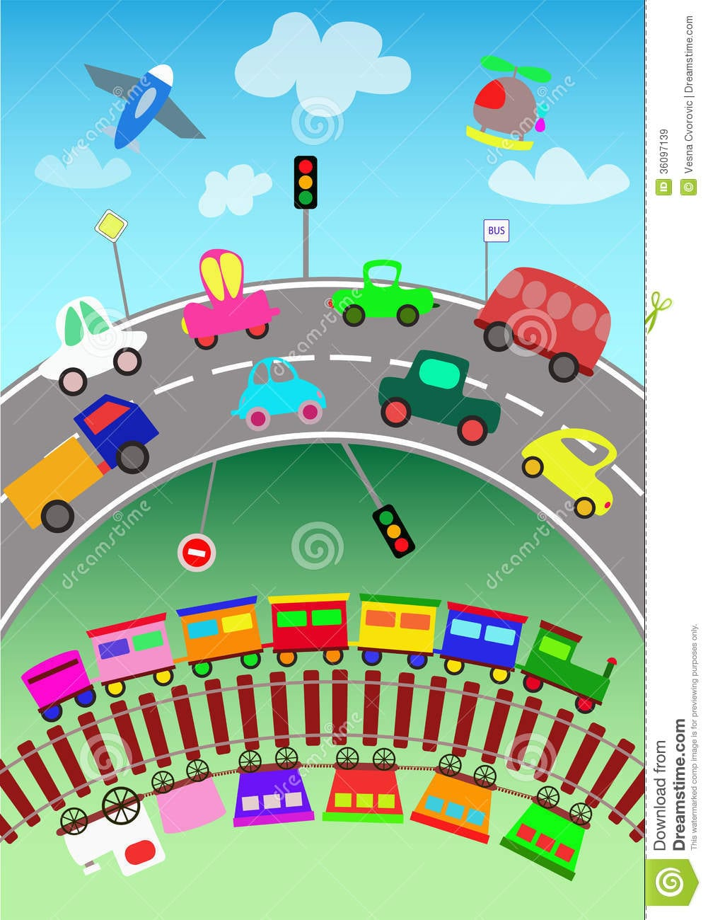 Various Transportation Objects And Toy Cars For C Stock Vector