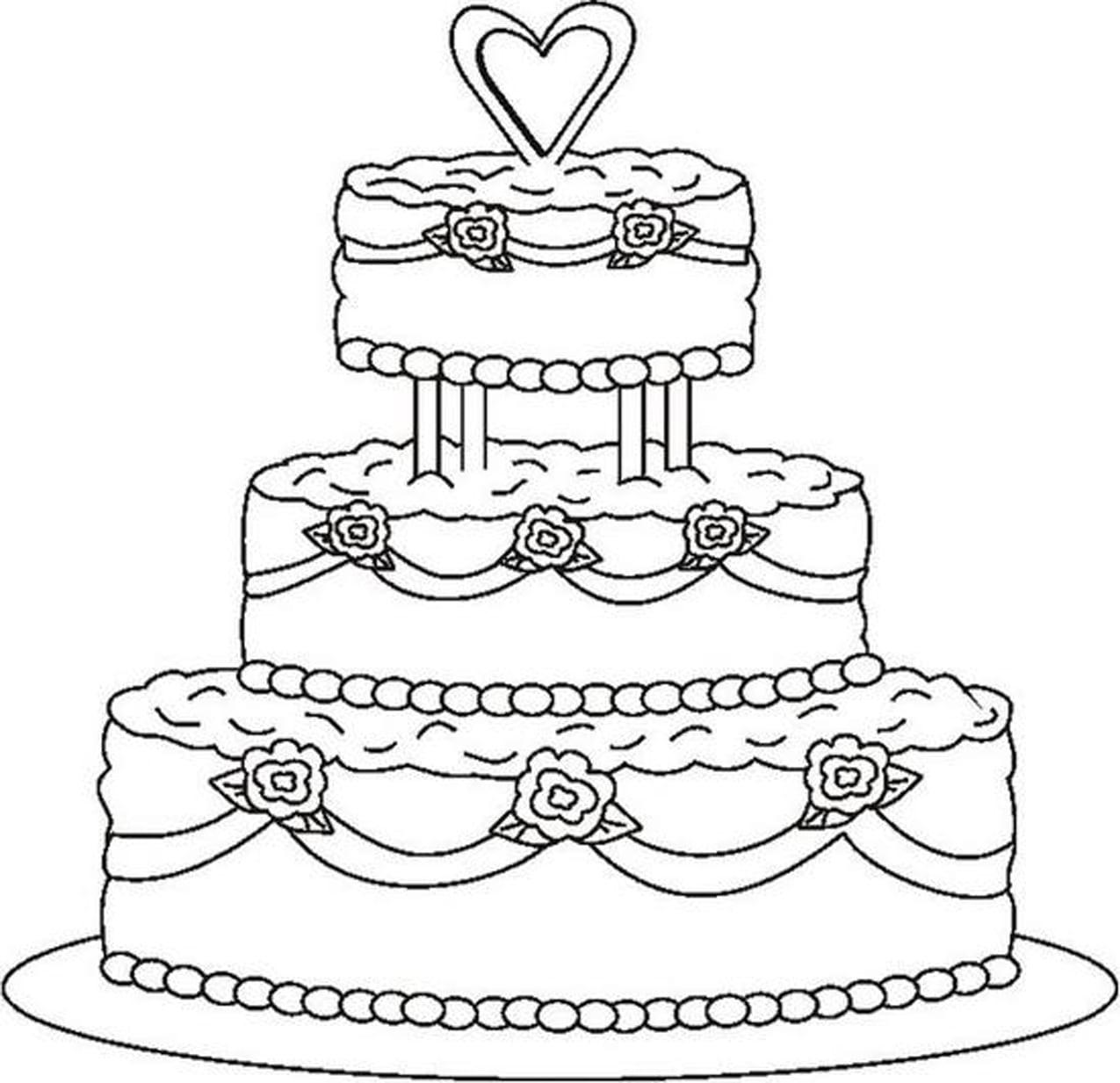 Wedding Cake Coloring Page