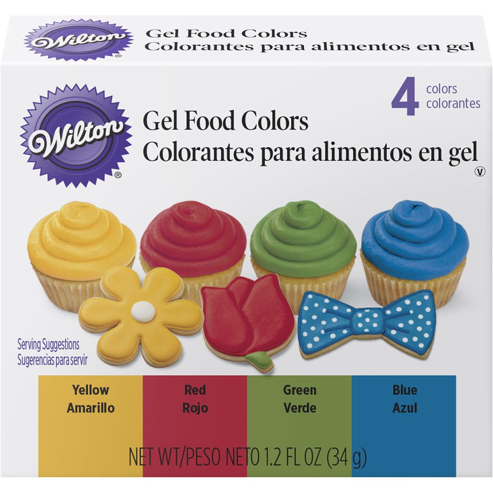 Wilton Primary Gel Food Colors Set 0 3 Fl Oz Bottles