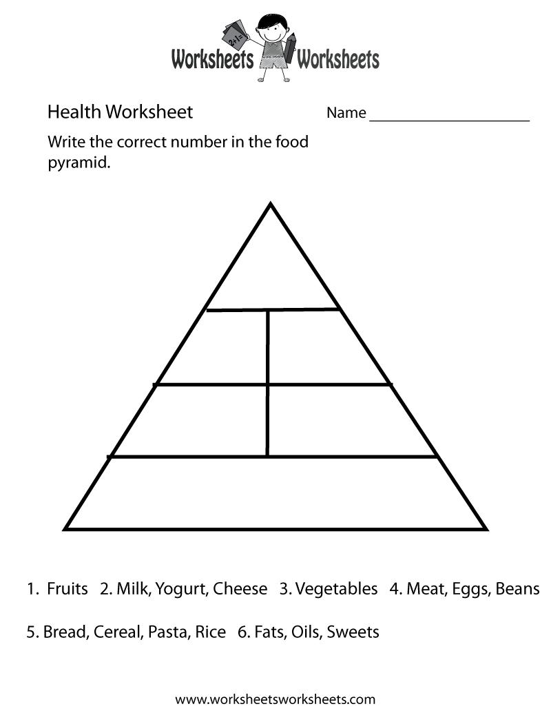 Food Pyramid Health Worksheet Printable