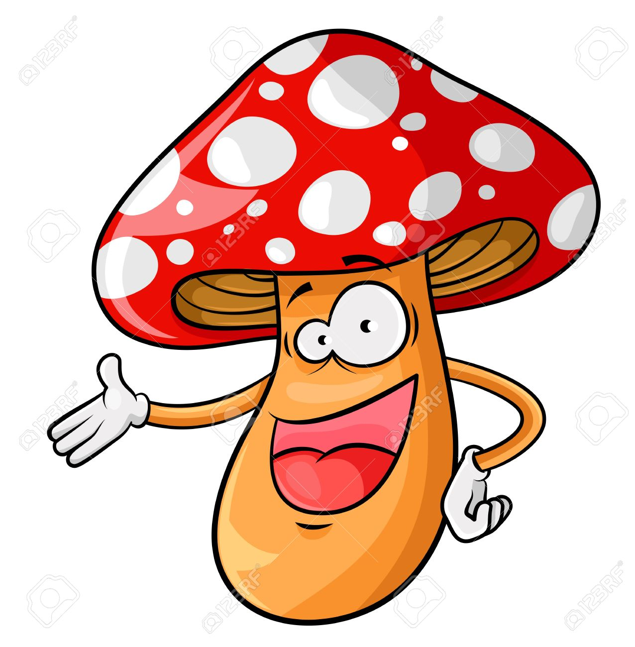 Happy Cartoon Mushroom Isolated On White Royalty Free Cliparts